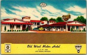 1940s Las Vegas, Nevada Postcard OLD WEST MOTOR HOTEL Highway 91 Roadside LINEN