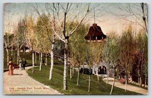 Duluth Minnesota~Cascade Park~Victorians on Path~Bell Tower~Birch Trees~1913 PC