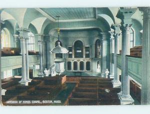 Divided-Back KING'S CHAPEL INTERIOR Boston Massachusetts MA A9824