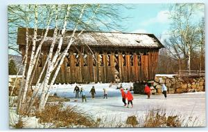 Currier & Ives New England Covered Bridge Children Ice Skating Snow Postcard D55