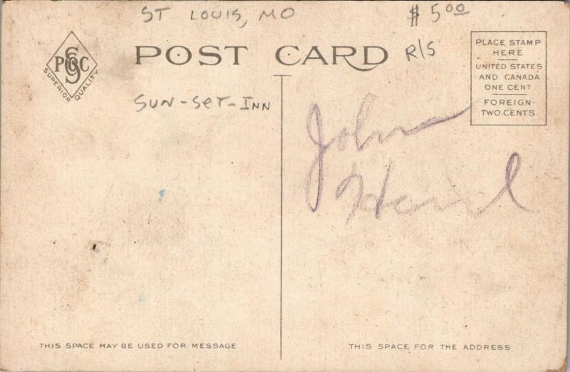 St Louis Missouri~Sun Set Inn Interior~Wildlife Mounts~Deer~Boar~c1910 Postcard