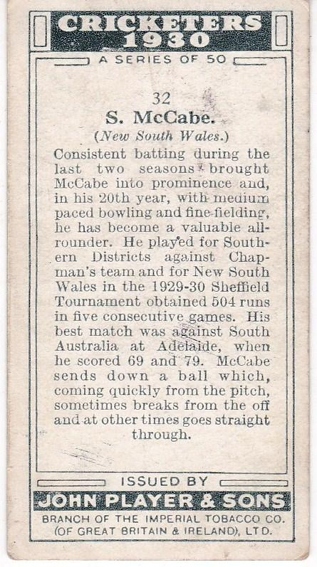 Cigarette Cards Player's Cricketers 1930 No 32 - S McCabe