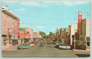 Loveland CO~Business District~Neon Sign~Whites Dept Store, BPOE, Liquor~1960s PC