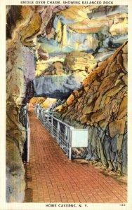 New York Howe Caverns Bridge Over Chasm Showing Balanced Rock
