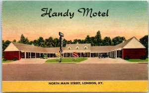 London, Kentucky Postcard HANDY MOTEL North Main Street Roadside Linen 1953