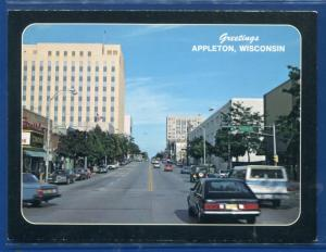 Appleton Wisconsin wi downtown street view buildings cars chrome postcard