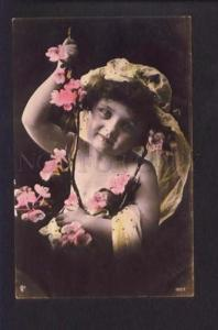 073686 GIRL as FAIRY in Flowers Vintage PHOTO tinted