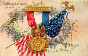 US Patriotic flag Sons of Veterans eagle chromo postcard