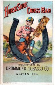 VICTORIAN TRADE CARD,  HORSESHOE CROSS BAR TOBACCO.