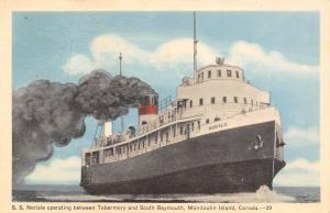 Tobermory - South Baymouth~Manitoulin Island Canada~SS Norisle Steamer~1951 PC