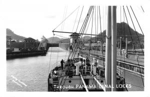 Panama Canal~Ship Passing thru Locks~People on Deck~Note on Back~1940s RPPC