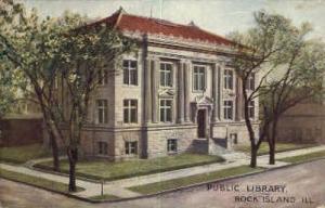 Public Library Rock Island IL Postal Used Unknown