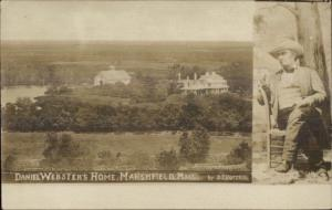 Marshfield MA Daniel Webster Home c1910 Real Photo Postcard