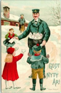 Vintage Artist-Signed MAX HANEL New Year Postcard Mailman / Children - UNUSED