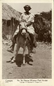 curacao, D.W.I., Native Woman Fish Vender (1929) Capriles  RPPC 36
