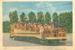 Montreal Canada Observation Car on the Tramway White Border Postcard