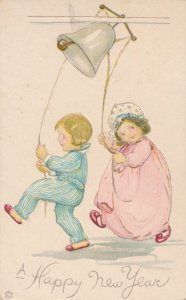 New Years Day Greetings - Boy and Girl Ringing Bell - Stecher Litho - DB
