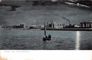 SOUTHPORT LANCASHIRE UK NORTH LAKE~MOONLIGHT VIEW POSTCARD