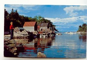 Boy Fishing, Back Cove, Lobster Traps, New Harbor, Maine,Used 1962