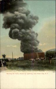 Burning Oil Tank Near Rock City NY c1910 Postcard