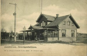 sweden, LUNDSBRUNN, Järnvägsstationen, Railway Station (1900s) Postcard