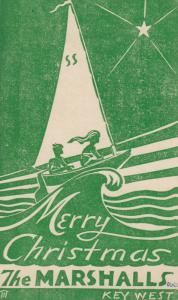 KEY WEST , Florida, 1948 ; Sailboat Merry Christmas