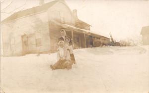 Hesperia MI Old Maid Beisel & Neighbor Girls~Snow Fun~Play Invitation~RPPC 1911