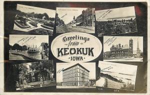 Keokuk Iowa~Real Photo Postcard Multiview~Main St~Steamer Quincy~Rand Park 1925