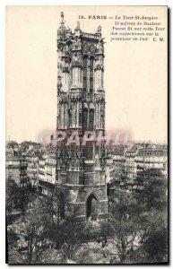 Postcard Old Paris St Jacques Tower