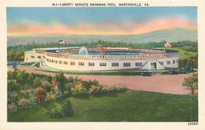 MARTINSVILLE, Virginia  VA   LIBERTY HEIGHTS SWIMMING POOL c1940s Linen Postcard