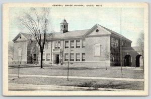 Cadiz Ohio~Central Grade School~Trees in Front~1940s Blue Sky Postcard