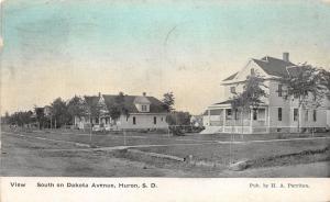 Huron South Dakota~Dakota Avenue South~Homes Along Unpaved Road~1910 Tinted Sky