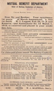 CEDAR RAPIDS, Iowa, PU-1910; Mutual Benefit Department Statement, Bussines Card