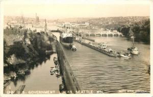 1940s Seattle Washington US Government Locks RPPC Real photo postcard  7164