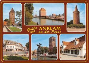 Gruesse aus Anklam an der Peene Turm Tower River Statue Street Shops Commerce