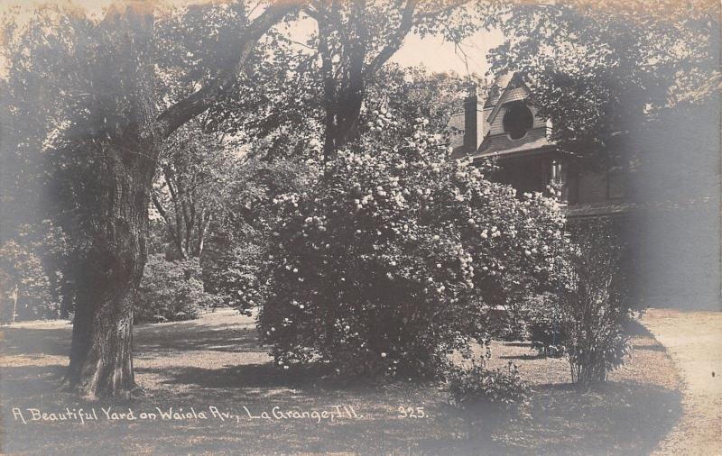 La Grange Illinois~Home w/Circular Drive on Waiola Avenue~Big Shrubs RPPC