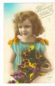 RP  Girl & Pansy Flowers, 1910s