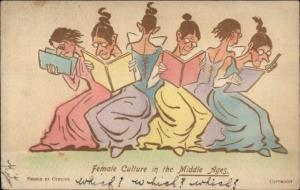 Cynicus - Female Culture in the Middle Ages - Pun c1905 Postcard