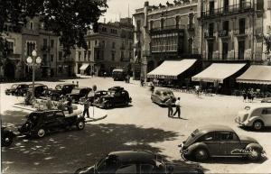 spain, FIGUERAS, La Rambla, Parte Alta, Cars VW Beetle (1970s) RPPC Postcard