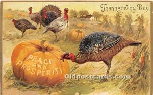 Thanksgiving Old Vintage Antique Postcard Post Card Tucks writing on back