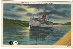 Vintage Postcard Night Scene  Linen New York Boat Passing Through Cape Cod Canal