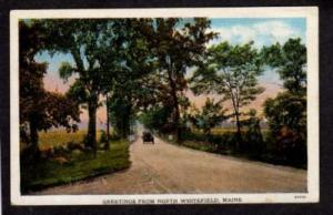 ME Greetings NORTH WHITEFIELD MAINE Postcard PC Old Car