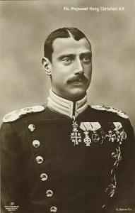 King Christian X of Denmark in Uniform, Medals (1910s) Postcard