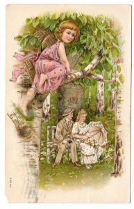 Valentine Romance Couple Cupid Tree Branch Lovers Postcard