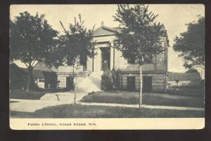 GRAND ISLAND NEBRASKA PUBLIC LIBRARY BUILDING ANTIQUE VINTAGE POSTCARD