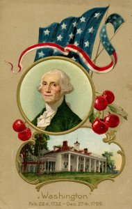 Greeting - Washington's Birthday        Winsch   (embossed, gold)
