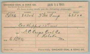 Chicago Coal & Coke Company~Postal~Kahoka MO~Creger Coal~62,000 Lbs~CB&QRR* 1906
