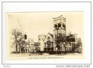 Real Photograph, First Baptist Church, Spartanburg, South Carolina, 1940s