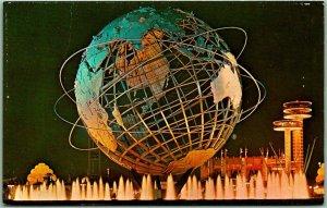 1964 NEW YORK WORLD'S FAIR Postcard UNISPHERE Night Scene Dexter Chrome Unused