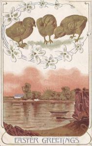 Easter Greetings, Gold chicks, Peaceful Lakeshore Scene, PU-1910